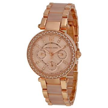 e51d9832eb163 Michael Kors Parker Mini Multi-Function Rose Dial Rose Gold-tone and Blush  Acetate Ladies Watch