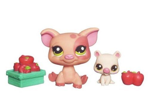 Littlest Pet Shop Exclusive Funniest Pet Pairs Figures Pink Bunny and Bull Terrier with Mailbox Hasbro