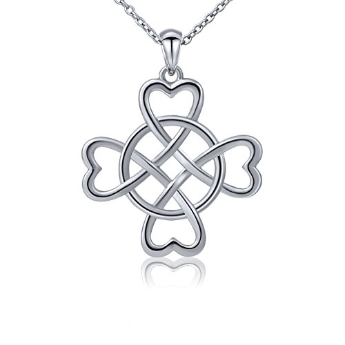 499fc83964b6 925 Sterling Silver Good Luck Irish Celtic Knot Triangle Vintage Love Heart  Clover Pendant Necklace