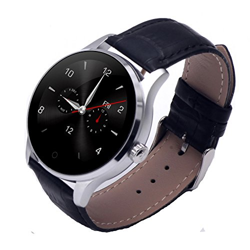 SEPVER All-in-1 K88h Smart Watch Round HD IPS Touch Screen Bluetooth 4 0  removable leather strap hea