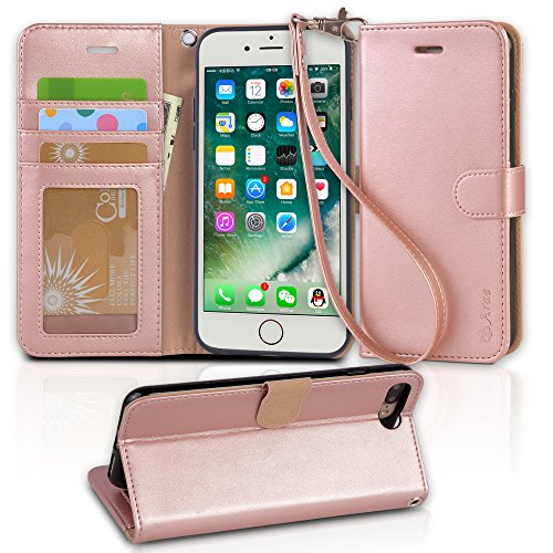 wholesale dealer 98f8f 4ff24 iphone 7 plus case, Arae iphone 7 plus wallet Case with Kickstand and Flip  cover (Rose Gold)