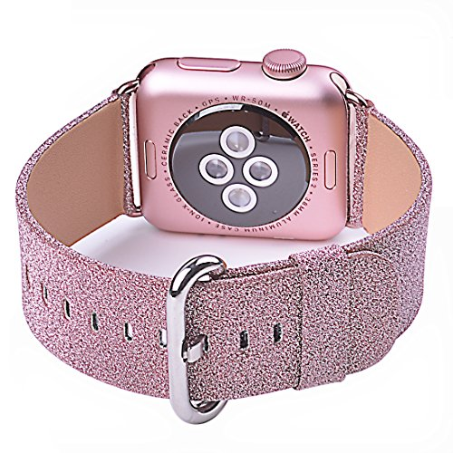 0b1e91a6e Apple Watch Band, iitee Glitter Bling Replacement Leather Bracelet for Apple  Watch Series 1 Series 2(38mm Pink.