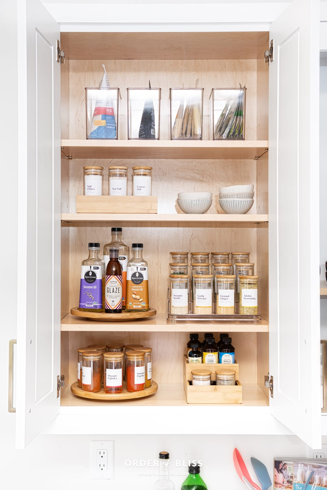 Organized Spice Jar Cabinet with Free Printable Labels