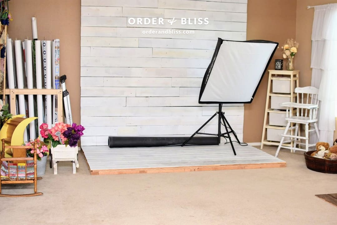 Organized backdrop of a Phoenix photography studio