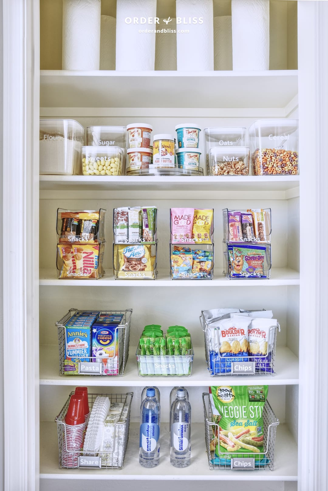 Small pantry organization using iDesign (formerly InterDesign) products