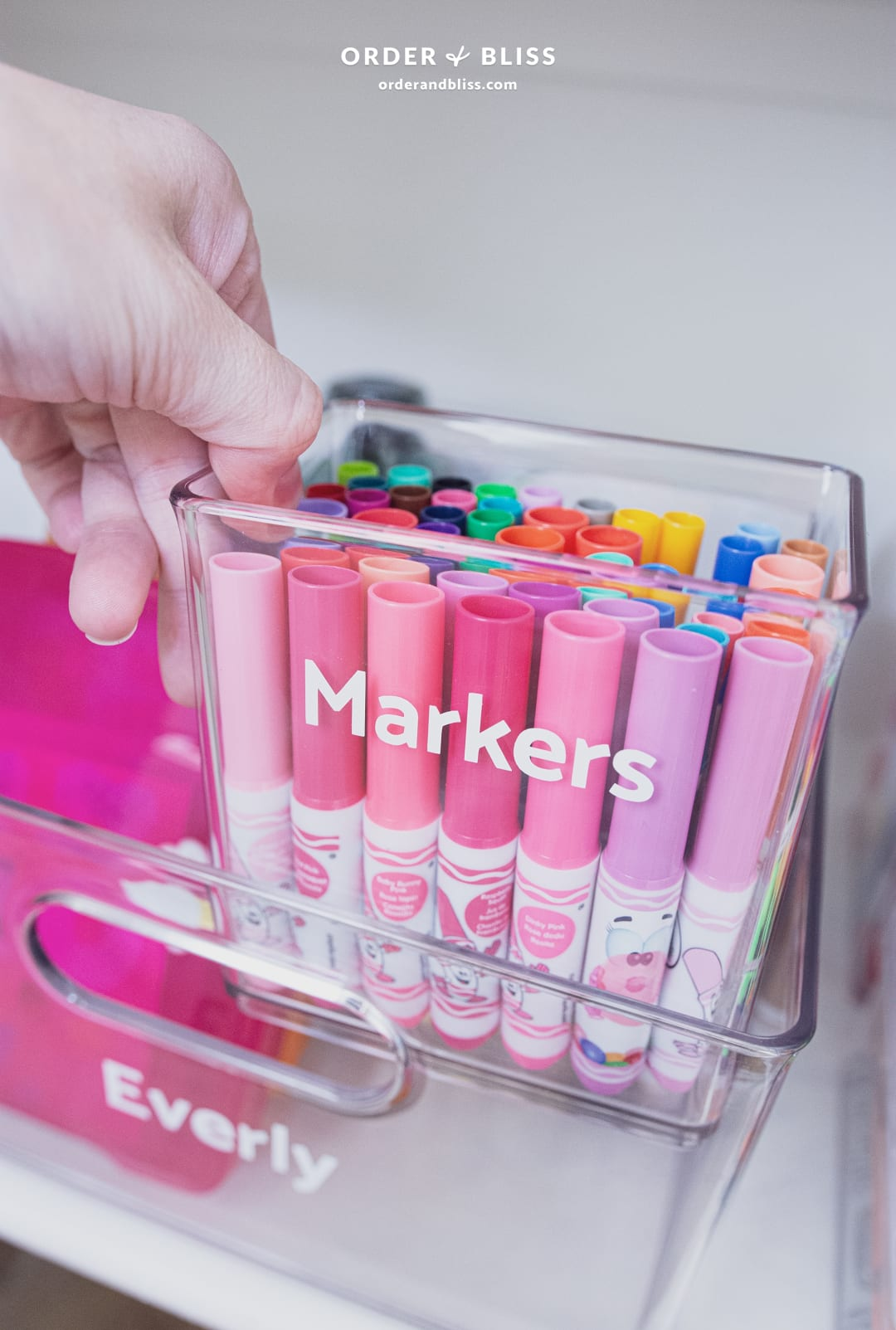 Crayola markers in a clear organizing bin