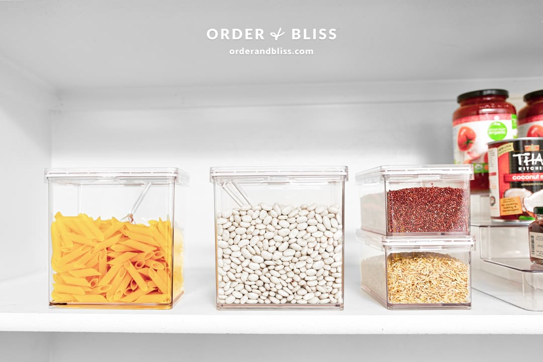 Small pantry organization for pasta, beans, and rice