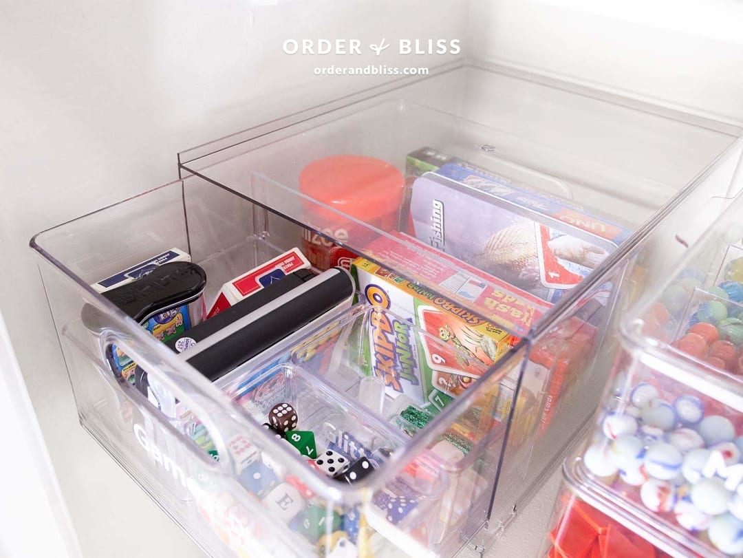 Game organization drawer with dice and cards