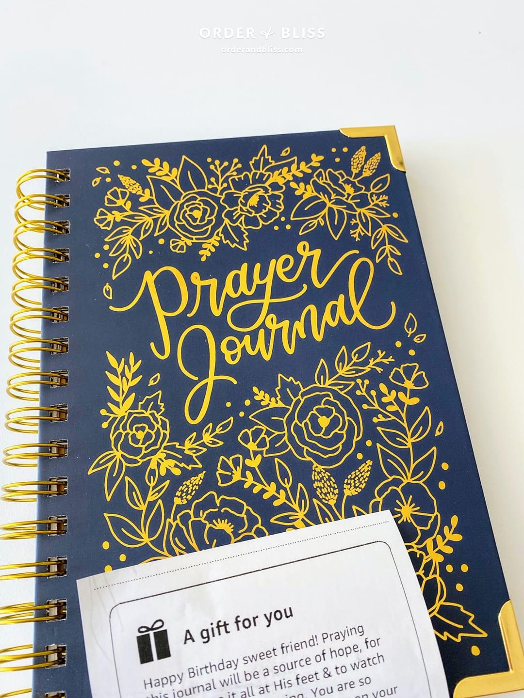 Blue and gold prayer journal