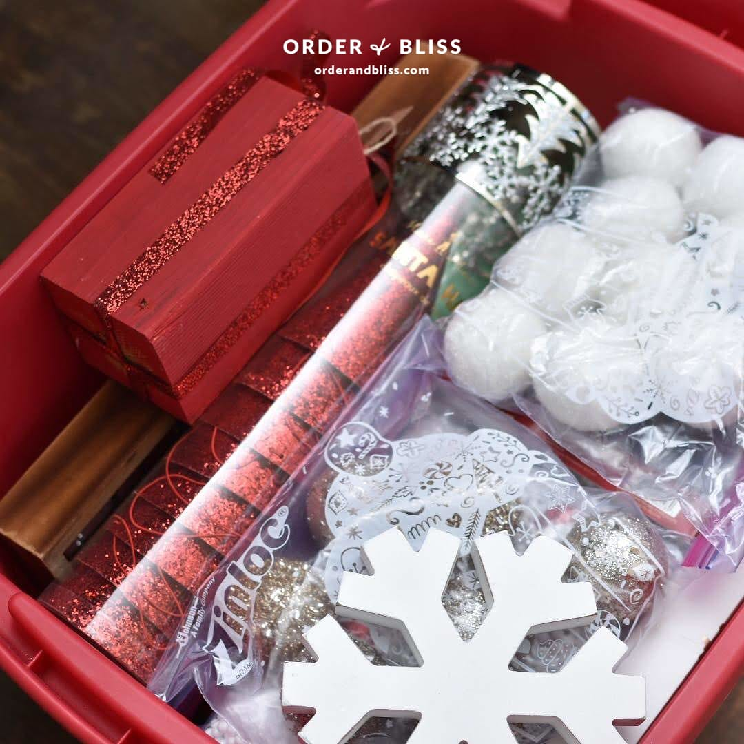 Sterilite storage bin with organized Christmas ornaments