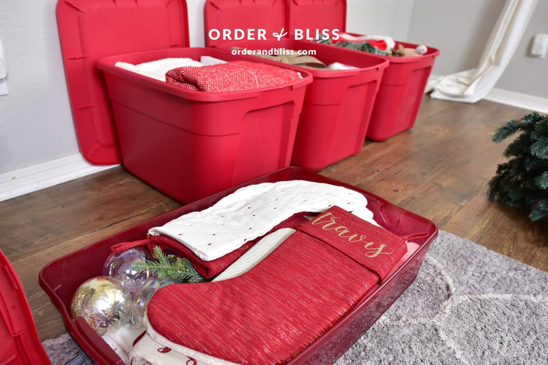Christmas stocking storage bin