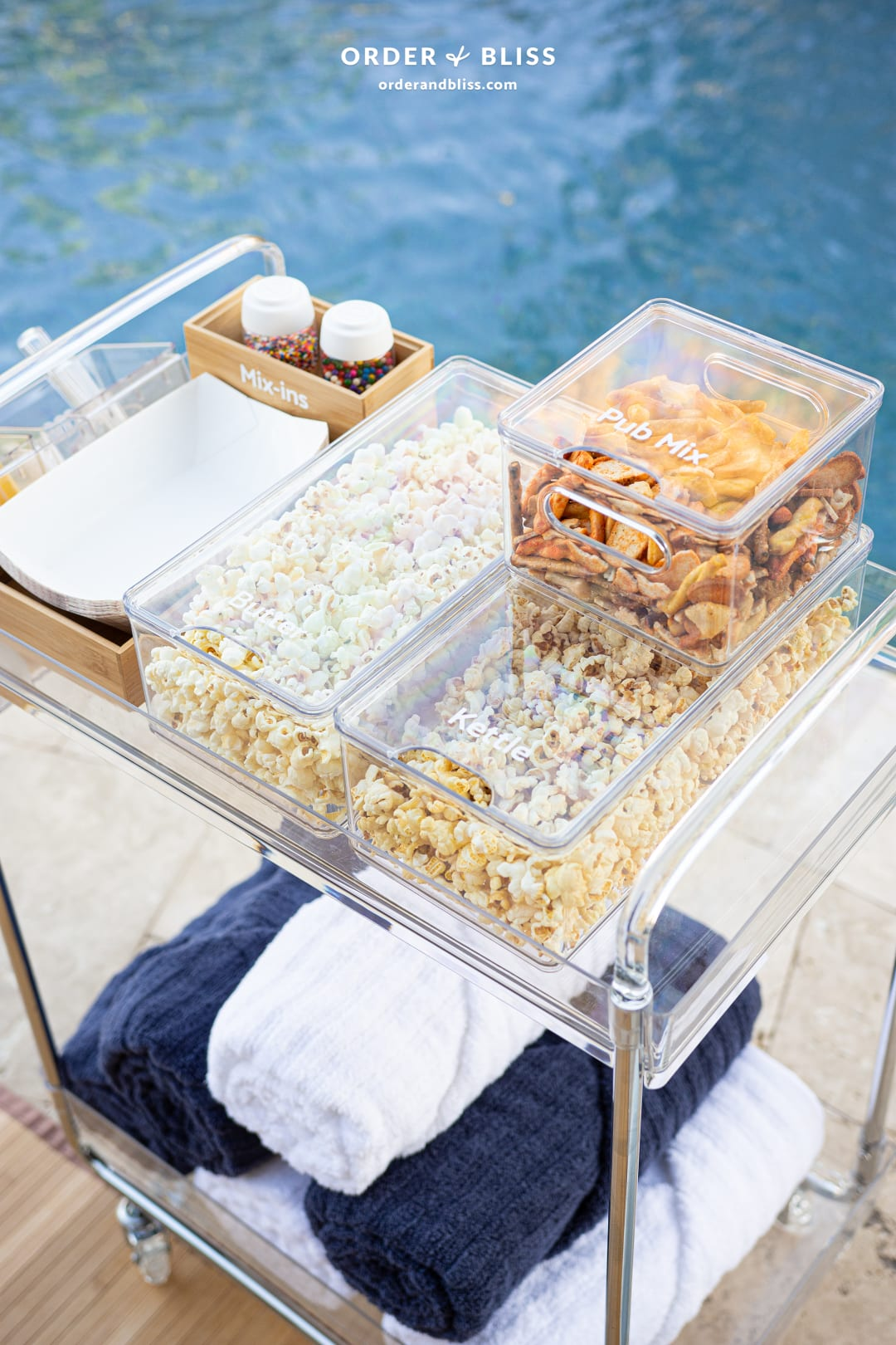 Rolling snack cart by The Home Edit