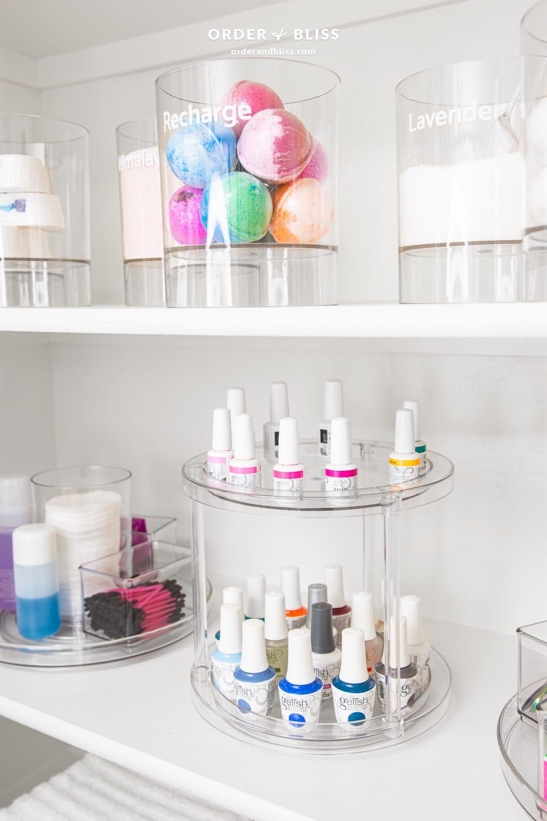 Organized spa closet