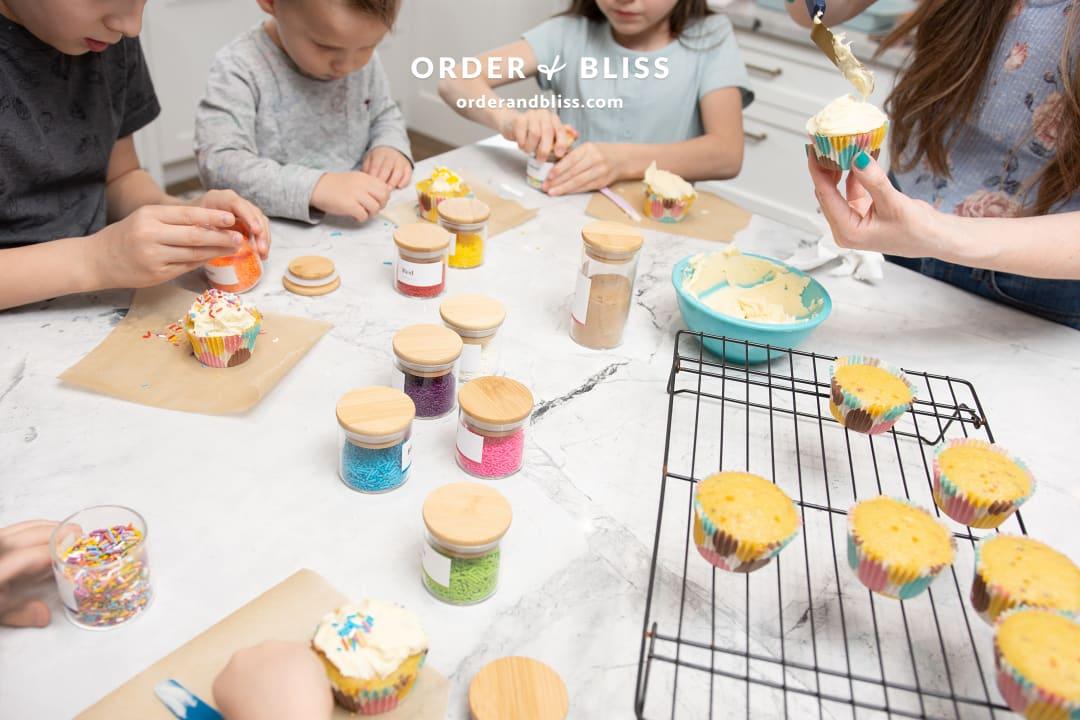 Baking funfetti cupcakes with rainbow sprinkles