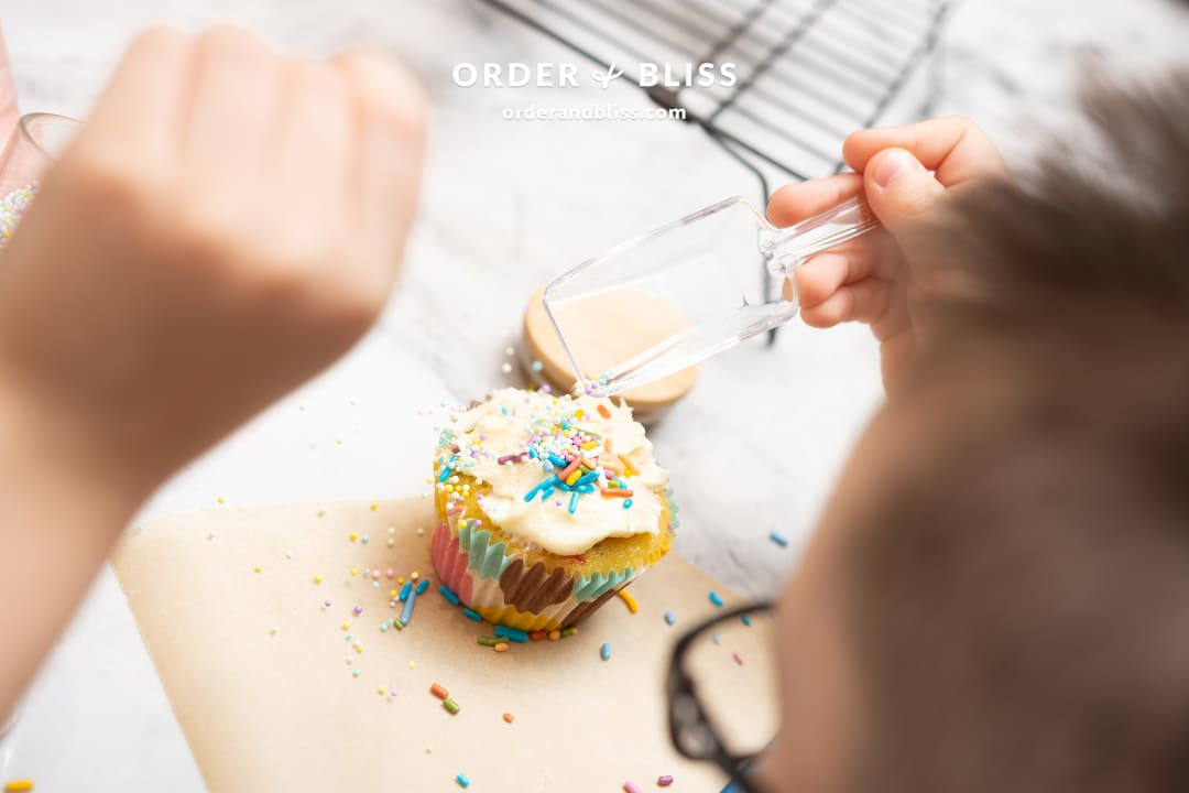 Decorating cupcakes with kids