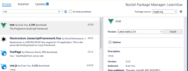 Working with VueJS 2 and ASP NET MVC 5 in Visual Studio | Mithunvp com