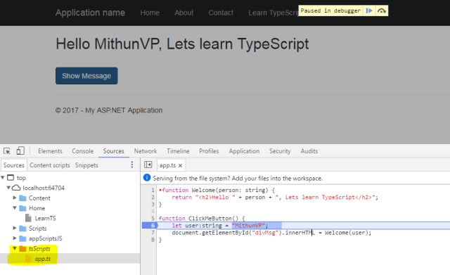 Using TypeScript with ASP NET MVC 5 instead of JavaScript | Mithunvp com