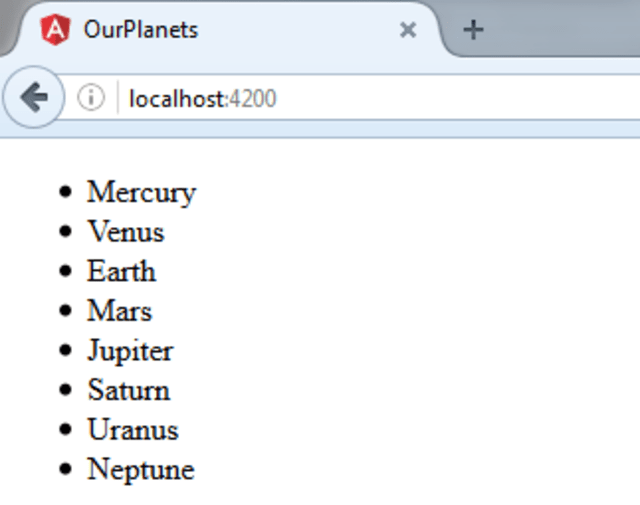 OurPlanets running on browser