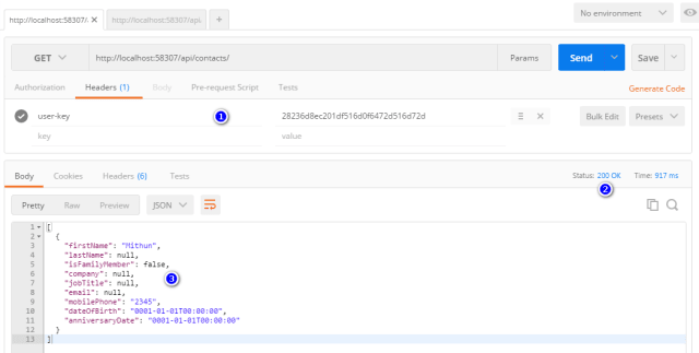 Valid user-key exists and JSON response is seen