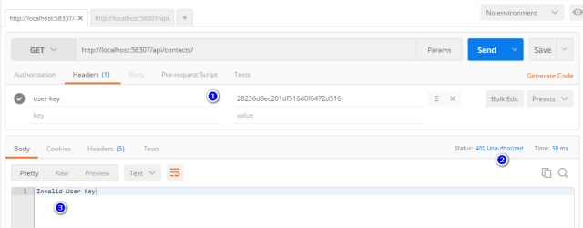 user-key exists in Request Header but is INVALID
