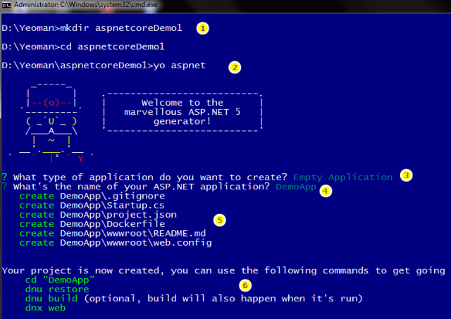 Create ASP.Core 1.0 app using Yeoman in Command line