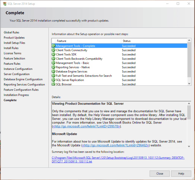 Installation of SQL Server Express 2014 on Windows 10