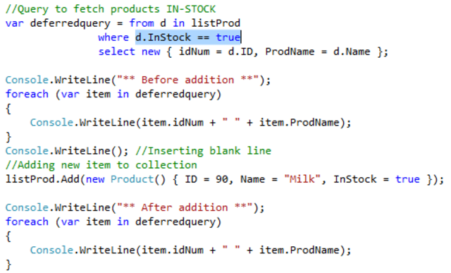 THREE examples of Deferred vs  Immediate execution in LINQ using C#