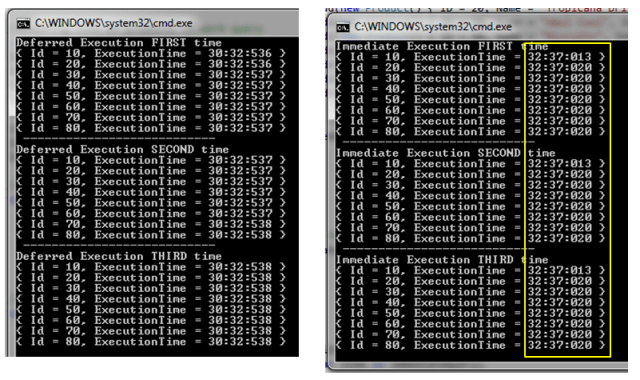 Console output showing time stamp for Deferred & Immediate query execution