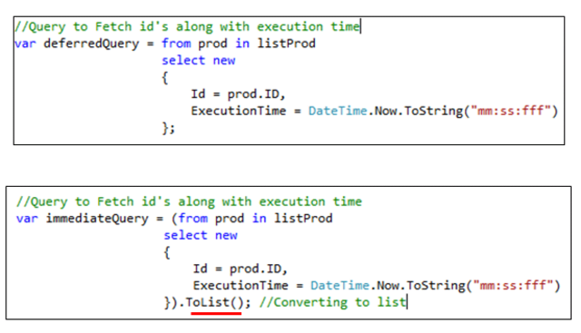 THREE examples of Deferred vs  Immediate execution in LINQ