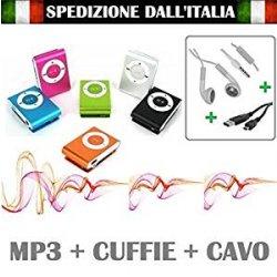 MINI LETTORE MP3 CON CUFFIE E CAVO USB MEMORIA...
