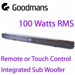 Goodmans 100W 2.1 Bluetooth Soundbar RCA 3.5mm...