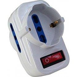 Electraline 71033 Adattatore con Interruttore, Spina Rotante, Bianco