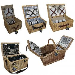 LUXURY WICKER WILLOW PICNIC BASKETS 2/4 PERSON...
