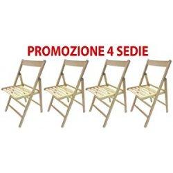 4 sedie pieghevole sedia birreria in legno...