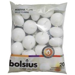 Bolsius - Candele galleggianti, 20 pezzi, bianco