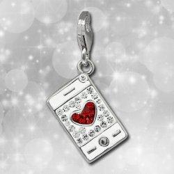 Glitzer Charm Smartphone weiß Zirkonia Kristalle...