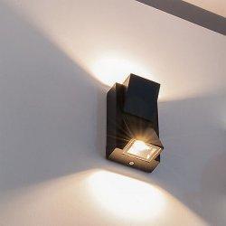 Lampada da parete doppia luce led applique nero...