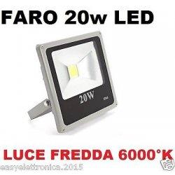 FARO FARETTO LED ULTRA-SLIM 20w IP66 LUCE FREDDA...