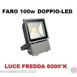 FARO FARETTO 2 LED SLIM 100W LUCE FREDDA 6000K...
