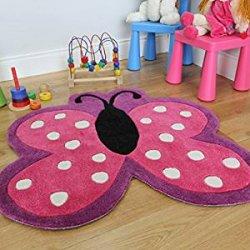 Tappeto Bambina Morbido Farfalla Rosa Pois 90 x...