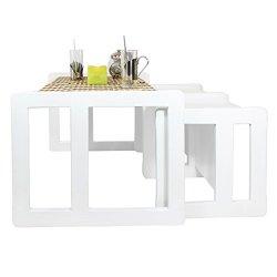 Tris Tavolini Da Caffè Multifunzionali 3 in 1 O...