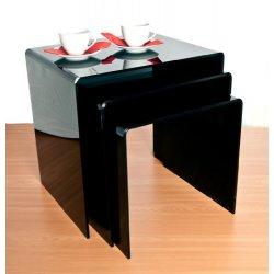 Tavolini in acrilico, colore nero (confezione da...
