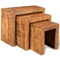 vidaXL Antico Mango Legno Set 3 Tavolini...