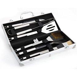 Holzsammlung® Posate per barbecue in acciaio INOX con valigetta in alluminio, 6 pezzi