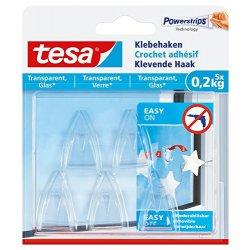 tesa colle gancio per superfici trasparenti e in vetro, 0,2 kg, 5 pcs, 77734-00000-00