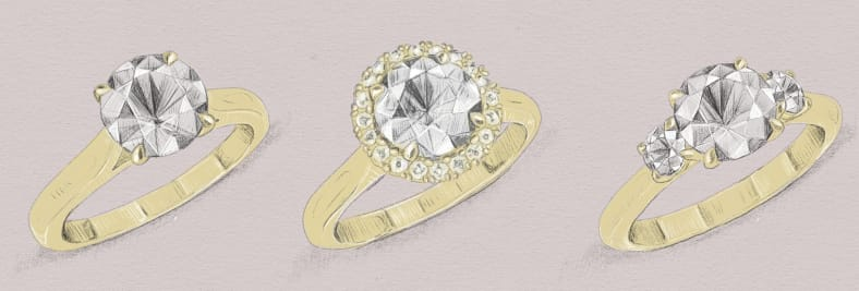 Sketches of potential engagement ring designs