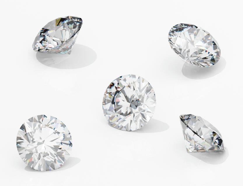 Set of five lab diamonds