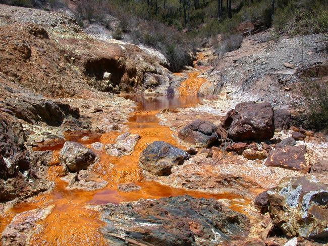 Acid mine drainage can turn waterways orange to red