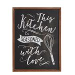 HOME-Wood-Framed-Chalkboard-Kitchen-Wall-Art-Poster-Print-with-Quote-This-Kitchen-is-Seasoned-with-Love-Black