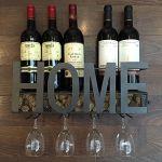 Soduku Wall Mounted Metal Wine Rack & 4 Long Stem Glass Holder Wine Cork Storage